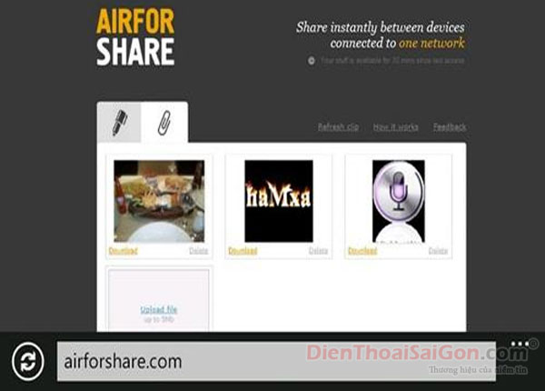 Chia sẻ file với AirForShare